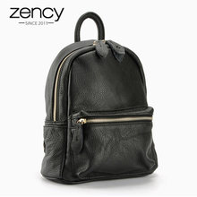 Zency New Design 100% Genuine Leather Women Backpack Preppy Style Schoolbag For Girls Ladies Travel Bag Black Knapsack Holiday(China)