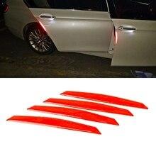4 шт./компл. Светоотражающие предупреждающие полосы ленты бампер автомобиля двери Стикеры отражающие полосы наклейки для автомобилей