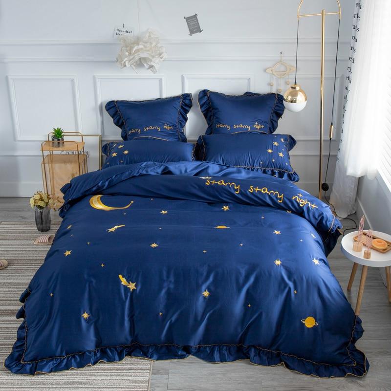 Home Textile Stars And Moon Bedding Set Boy Kid Girls Adult Linen Soft Egyptian Cotton Duvet Cover Pillowcase Bed Sheet