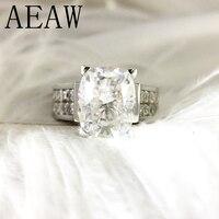 4 Carat ct DF Подушка обручение и свадебные муассанит кольцо с бриллиантом для женщин Подлинная 14 к 585 Белое золото (тяжесть стиль)