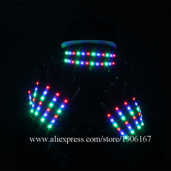 LED Luminous Gloves LED Light Up Halloween Glasses Led Illuminated Stage Props Party Event Supplies