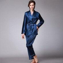Daeyard 봄 가을 고급스러운 실크 여성 잠옷 세트 긴 소매 가운 & 바지 Nightwear 레이디 홈 의류 무료 배송