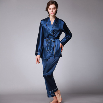 Daeyard Spring Autumn Luxurious Silk Women   Pajama     Sets   Long Sleeve Robe & Trousers Nightwear Lady Home Clothing Free Shipping
