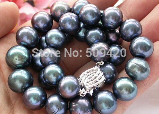 Shipping HUGE REAL 17 11 12mm ROUND peacock black PEARL NECKLACE (C0309)