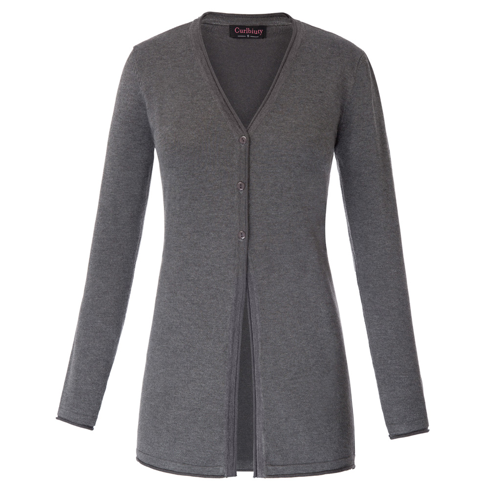 Autumn Women Sweater Tops Long Sleeve V-Neck Button Placket Curled Slim Long Knitwear Ladies Knitting Coat