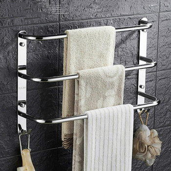 Three Layer Towel Hanger Brief Space Stainless Steel Bathroom Towel Rack Wall Mounted Towel Bar Holder For Bathroom Accessories цена 2017
