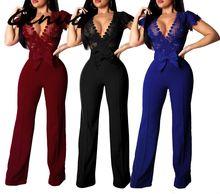 Genuo New Lace Patchwork Jumpsuit Women Sexy Off Shoulder Slash Neck Long Sleeve Elegant Slim Wide Leg