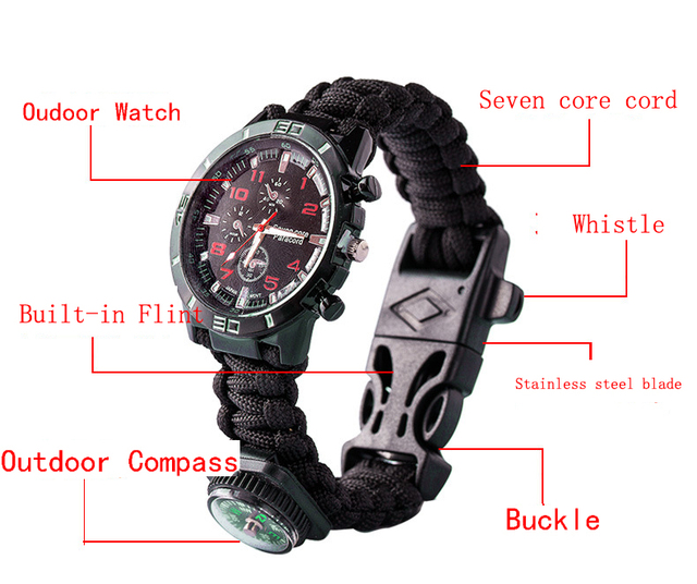 JKJ 7in1 Umbrella Rope Chain Knife watch Outdoor Fire Outter Multifunctional Hand Rope Camping Adventure Bracelet