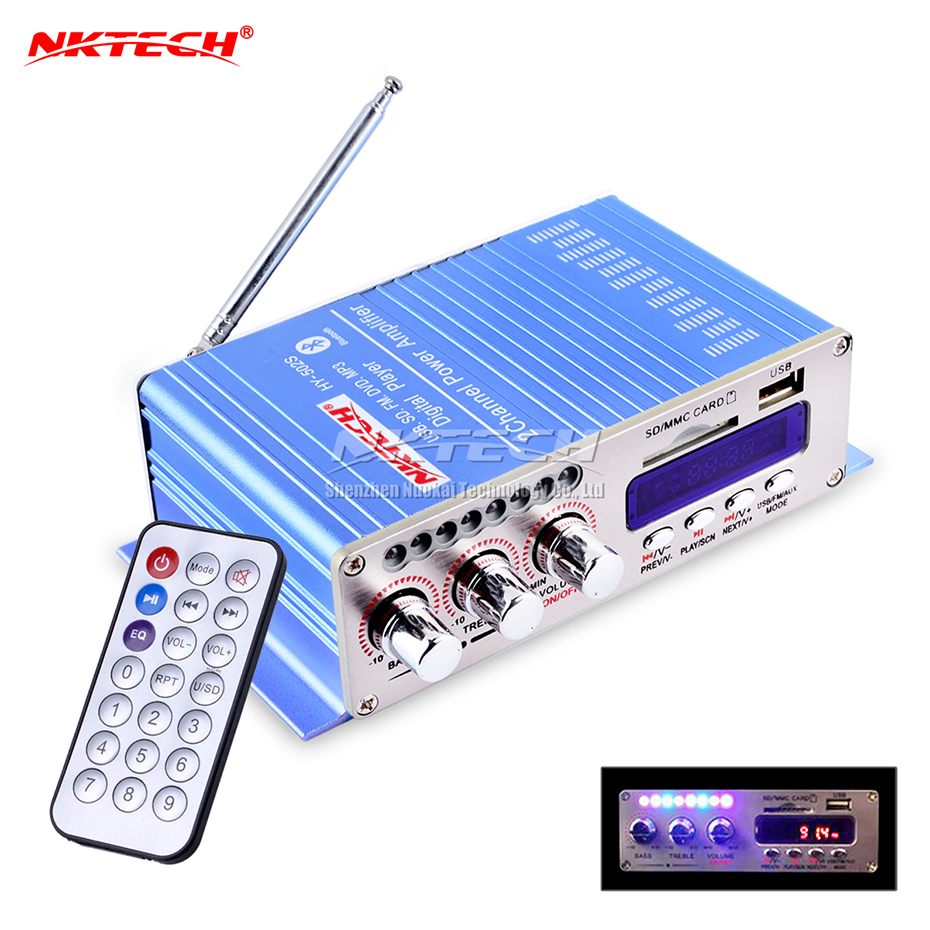 HY502S Bluetooth Car Power Amplifier Stereo Sound Mode HiFi 2 Channel Mini FM Audio + <font><b>MP3</b></font> Speaker Music Player for iPod HY-502S