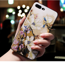Applicable to iphone6 7 8 X XR XMAX mobile phone shell painted embossed plum TPU soft plastic drop protection sleeve