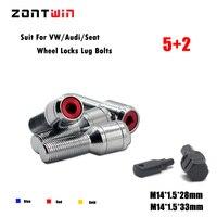 5Screws+2keys M14x1.5 Alloy Wheel Locking Bolts Automotive Closed 14X1.5 Lugs Nuts Lock Kit For Volkswagen Audi Seat Bmw Chrome