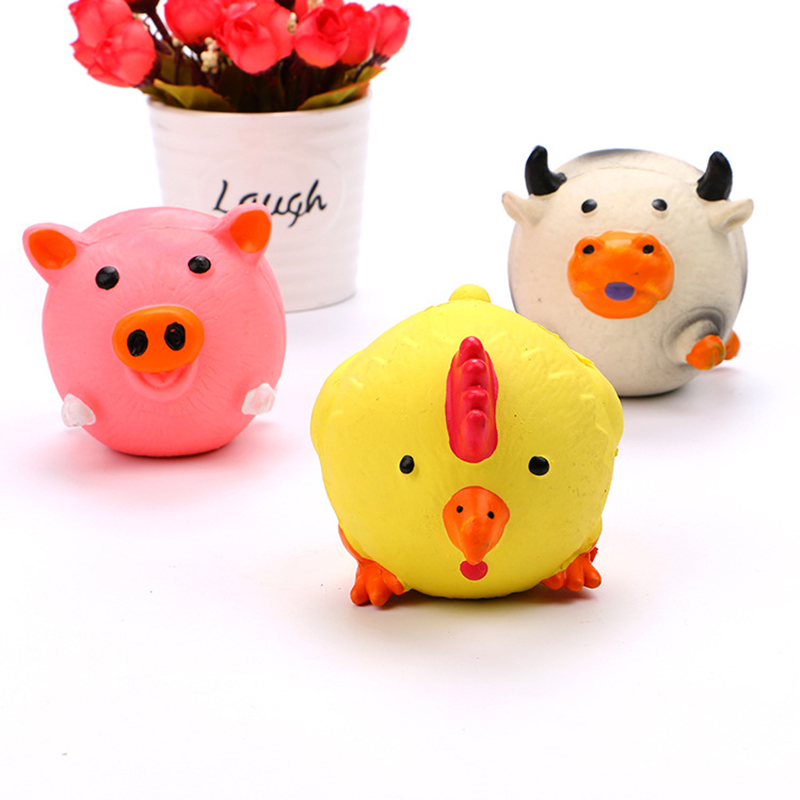 dog squeaky toys cartoon cute 3 animals for pig chicken cattle toys hollow rubber durable dog toys for small dogs popular toys