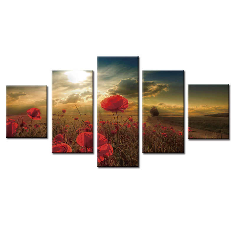 Framed 5 Piece Picture Beautiful flower Canvas Art Print Oil Painting Wall Pictures for Living Room Paintings Decorativons