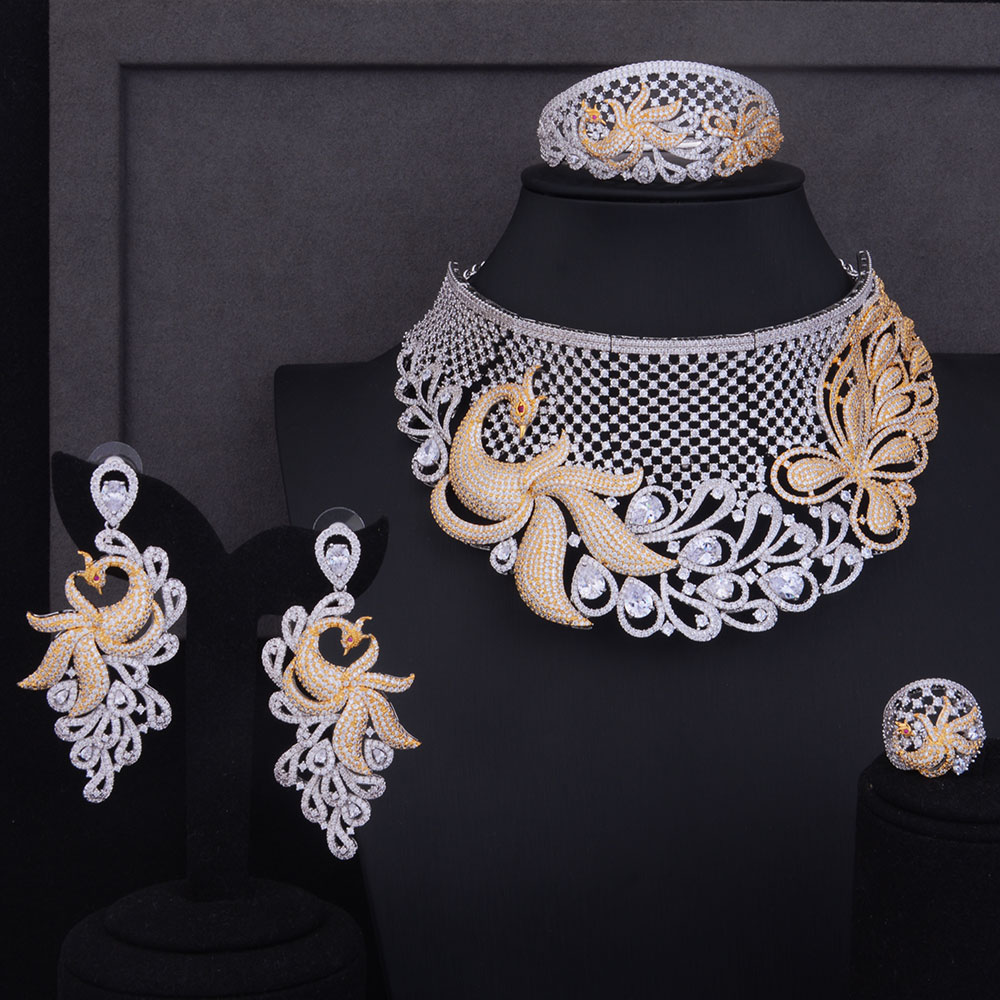 GODKI 89mm De Luxe Femmes De Mariage Afrique Naija Mariée Cubique Zircone Collier Ras Du Cou Dubaï Ensemble de Bijoux Bijoux Dépendance