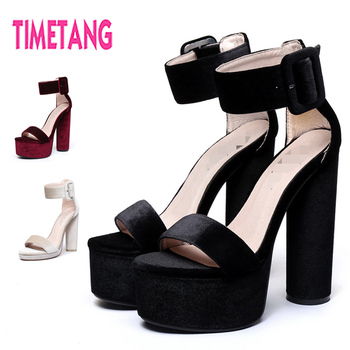Free Shipping Fashion Women Sandals New Vintage Flock Platform High Heel Ankle Strap Sandals Sexy Open Toe  Round Heel Shoes