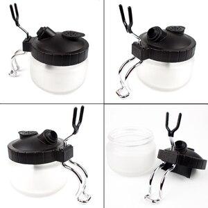 Image 3 - Airbrush Zubehör Für Spray Gun Reinigung Glas Topf 0.2/0.3/0,5mm Düse Pinsel Flaschen Halter Farbe Station clean Tool