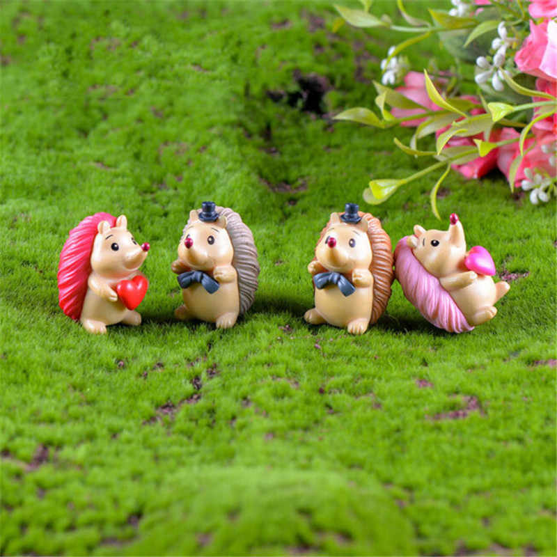 4pcs Resin Kawaii Elephant Figurine Cow Pig Frog Duck Hedgehog Turtle Dog Cat Decor Mini Fairy Garden Animal Statue Miniature