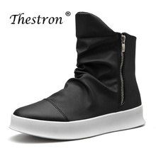 New Fashion Ankle Winter Boots Men Luxury Brand High Quality Skate Shoes Leather Cool Zipper High Top Male Leather Shoes Boots mycolen new 2018 high top martin boots luxury fashion fashion leather men boots ankle motorcycle boots for male men shoe
