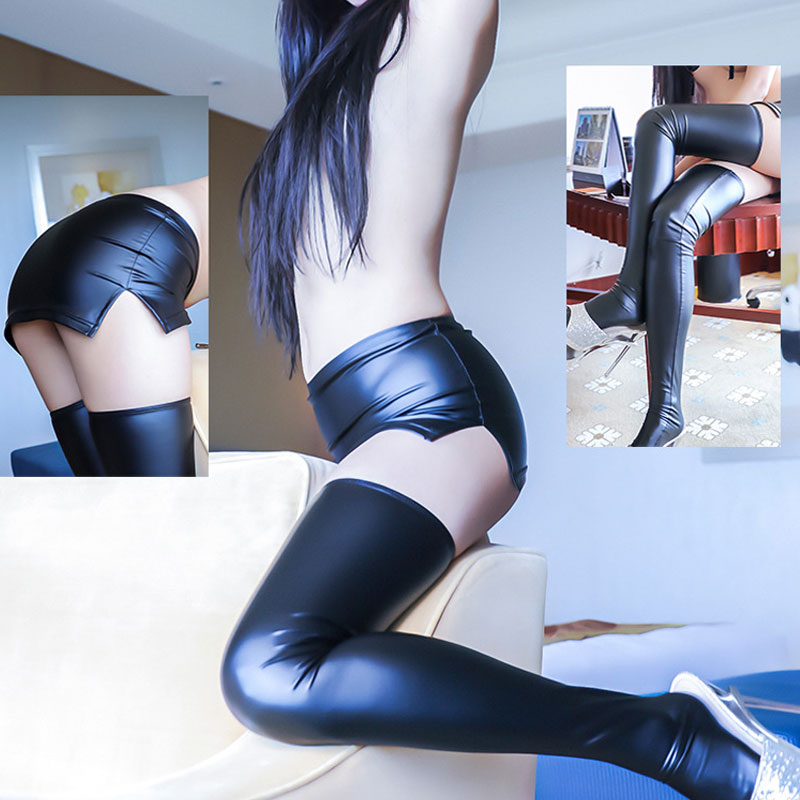 Sexy Women 2PCS/Set PU Faux Leather Micro MINI Skirt Tight Pencil Skirt Wet Look Club Skirt With High Stockings Erotic Wear F13