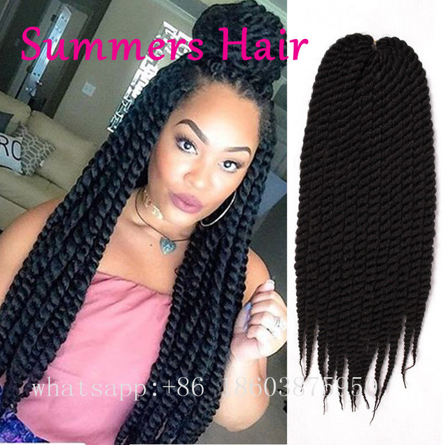 Synthetic Crochet Hair Extension 18inch Senegalese Twist Colourful Havana Hairstyle For Beautiful Women