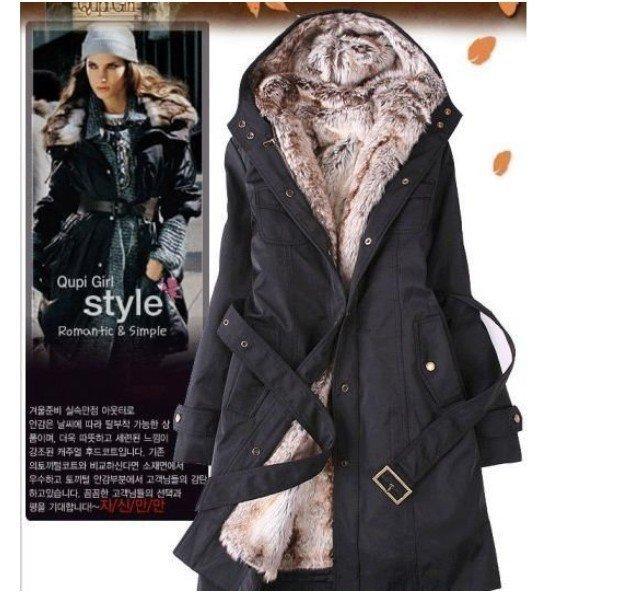 Black Green Beige color  Free Shipping  women's fur Hoodies Ladies coats winter warm long jacket