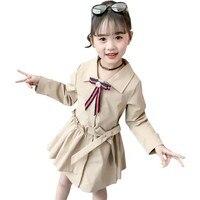 Kids Girls Trench Coat Spring Autumn Children Outerwear Jackets for Girls Turn down Children's Clothing Girl Jacket for Girls