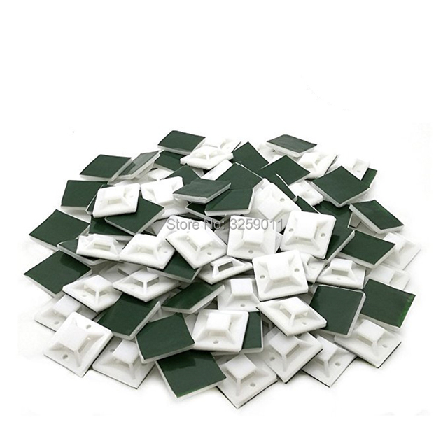 1000 قطع أسلاك الكابل التعادل الجبال البريدي التعادل الذاتي لاصق المدعومة قاعدة حاملي الأبيض 20 ملليمتر x 20 ملليمتر الأخضر عصا