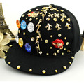 European USA Style Golden Geometry Rivet Baseball Hat Rhinestone Black Flat Snapback Sasquette Hat Hiphop Street Adjustable Cap