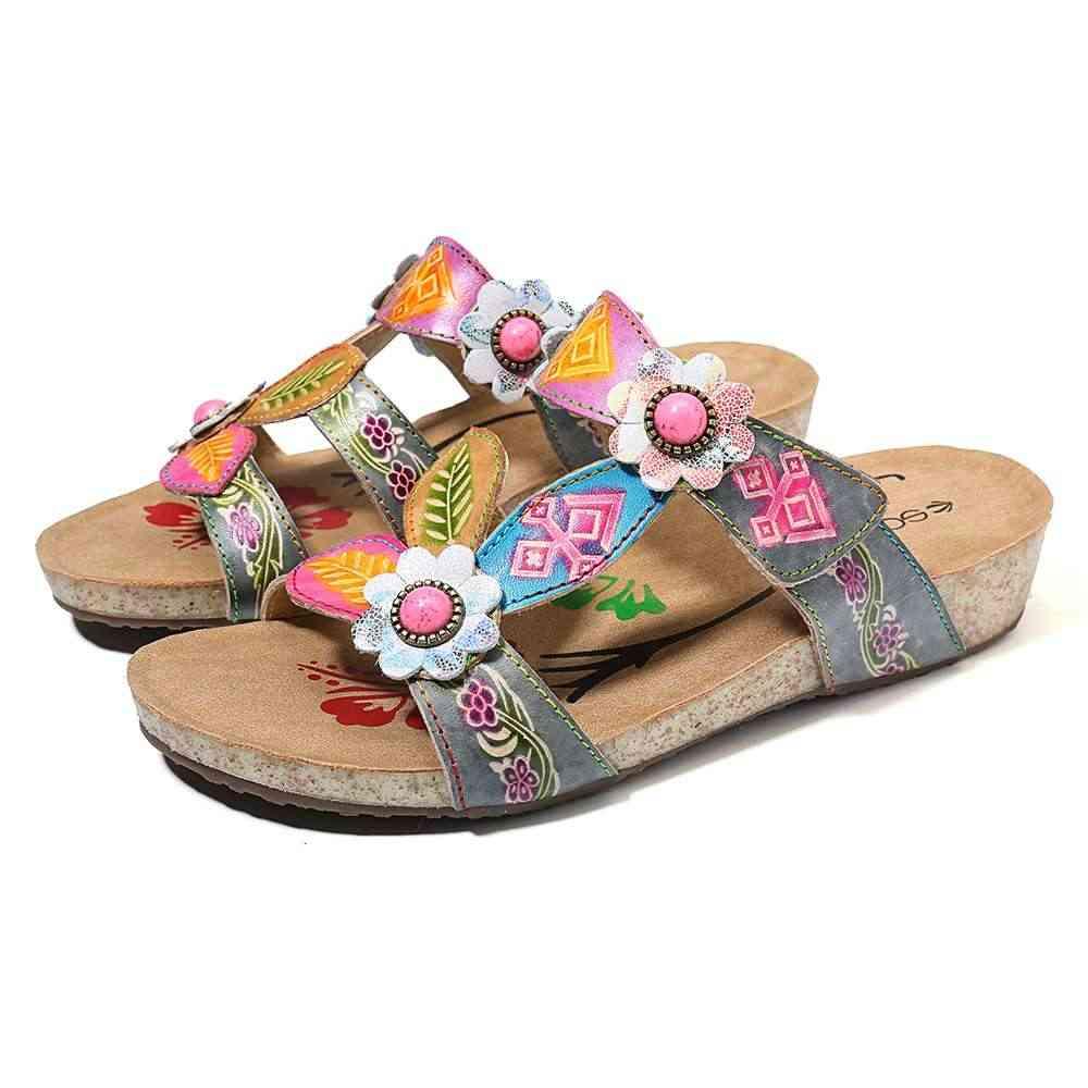 SOCOFY Hand Painted หนัง Retro อัญมณีดอกไม้รูปแบบห่วงสบายรองเท้าแตะรองเท้าผู้หญิง Elegant รองเท้าสำหรับสุภาพสตรี