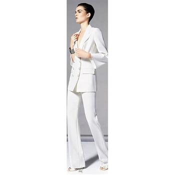 Jacket + Pants Women's Suit White Women's Office Uniform Ladies Formal Pants 2 Piece Evening Dress Double Breasted