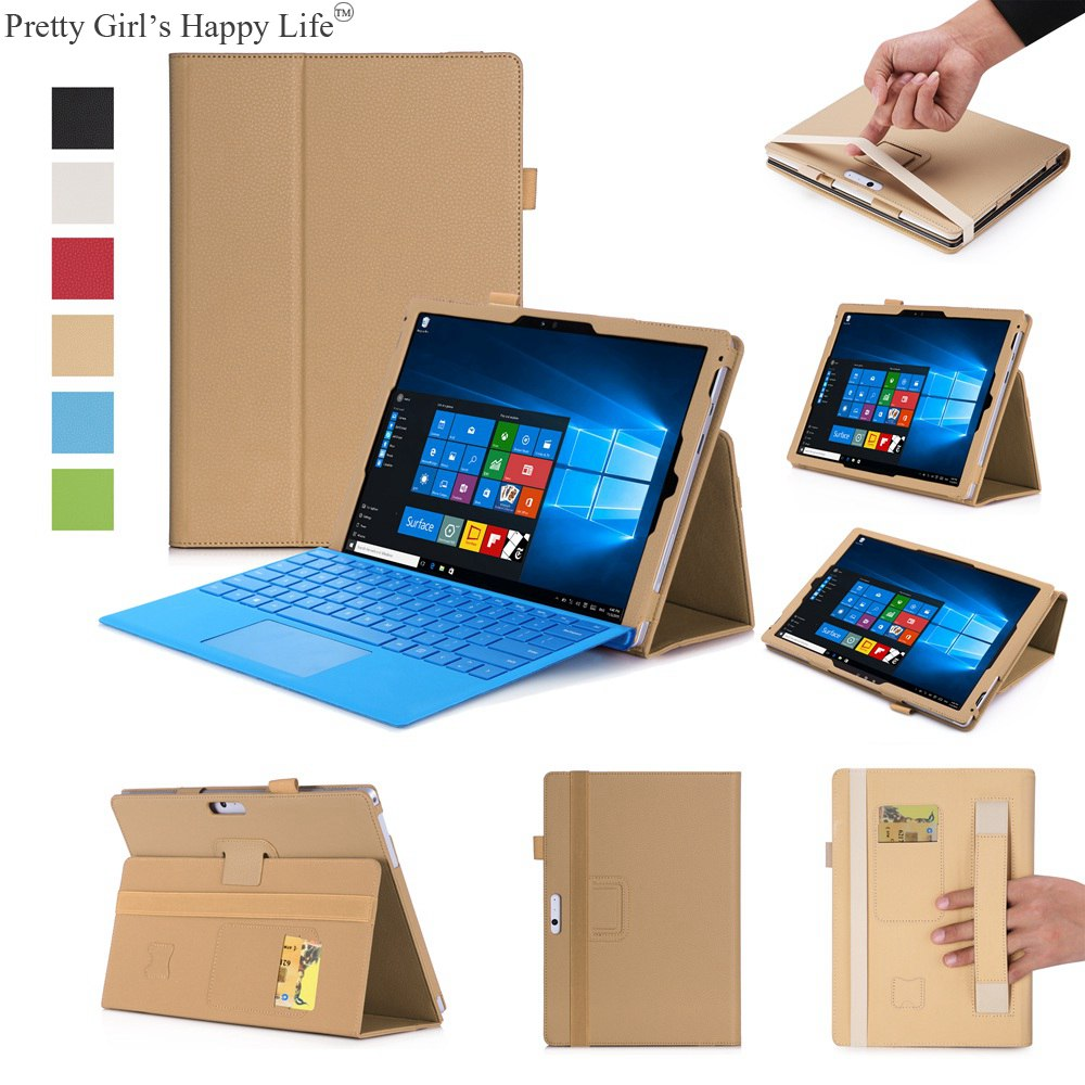 For Microsoft New surface Pro 2017 12.3 inch Case Stand Flip Leather Cover For New surface Pro 2017 12.3'' Shell Funda+Stylus