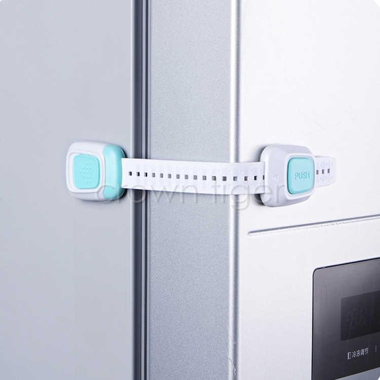 ベビー安全ロックダブルボタン引き出しドアロック子供の安全ロックキャビネット食器棚洗濯機冷蔵庫ロック