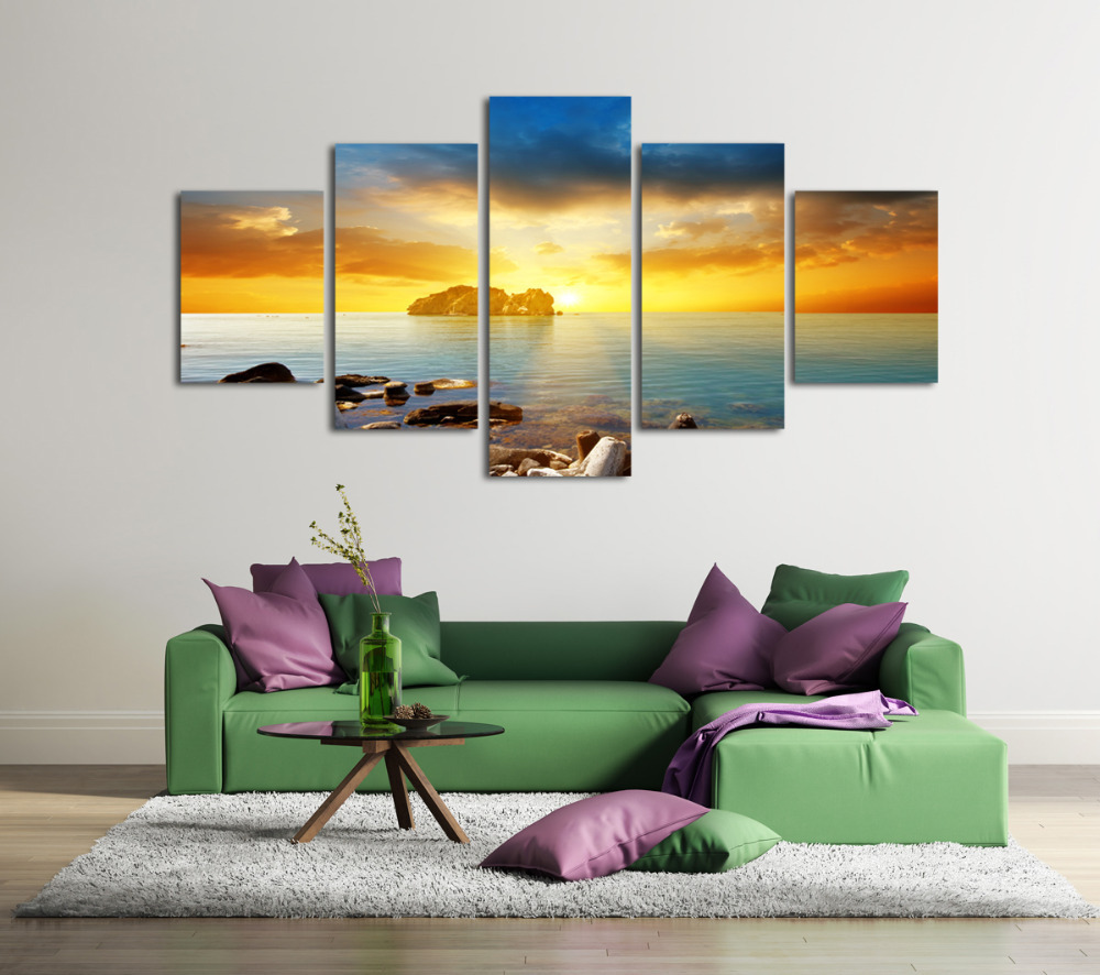 5 Panels Decorative Paintings Beautiful Seascape Sea Stones Wall Art Picture Top Rated For Living Room Painting Artwork Unframed In Calligraphy