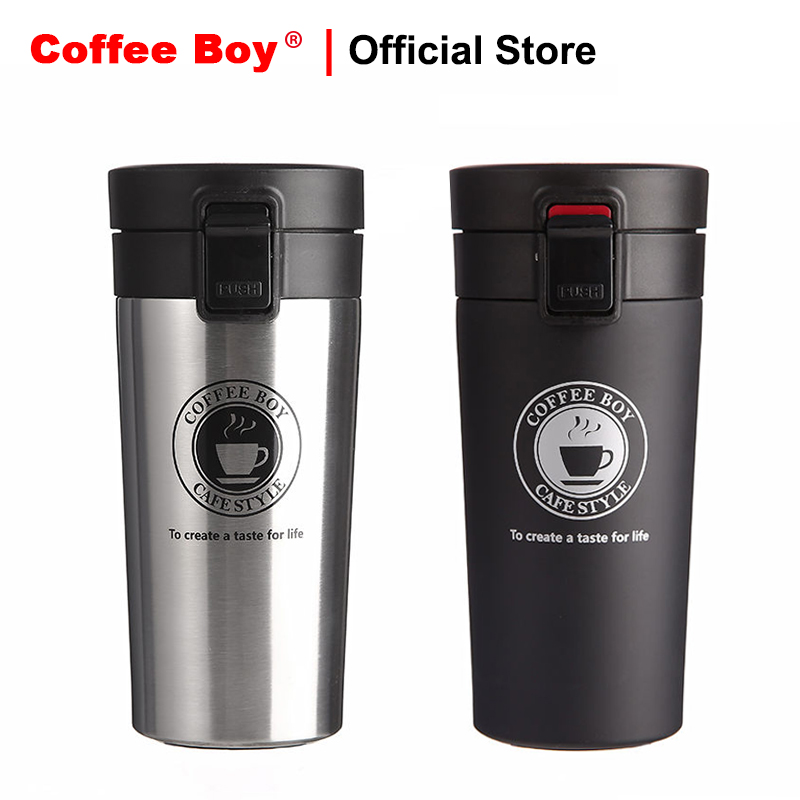 Coffee Boy 380ml Mini thermocup black 304 stainless steel tumbler women straight cup vacuum flask thermo mug thermos bottle