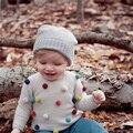 Новая Осень Цветные Шары Дети Свитер Детские Трикотажные Кардиганы Моды Малышей Мальчики Свитер Хлопок + Шерстяные Новорожденных Девочек Свитер