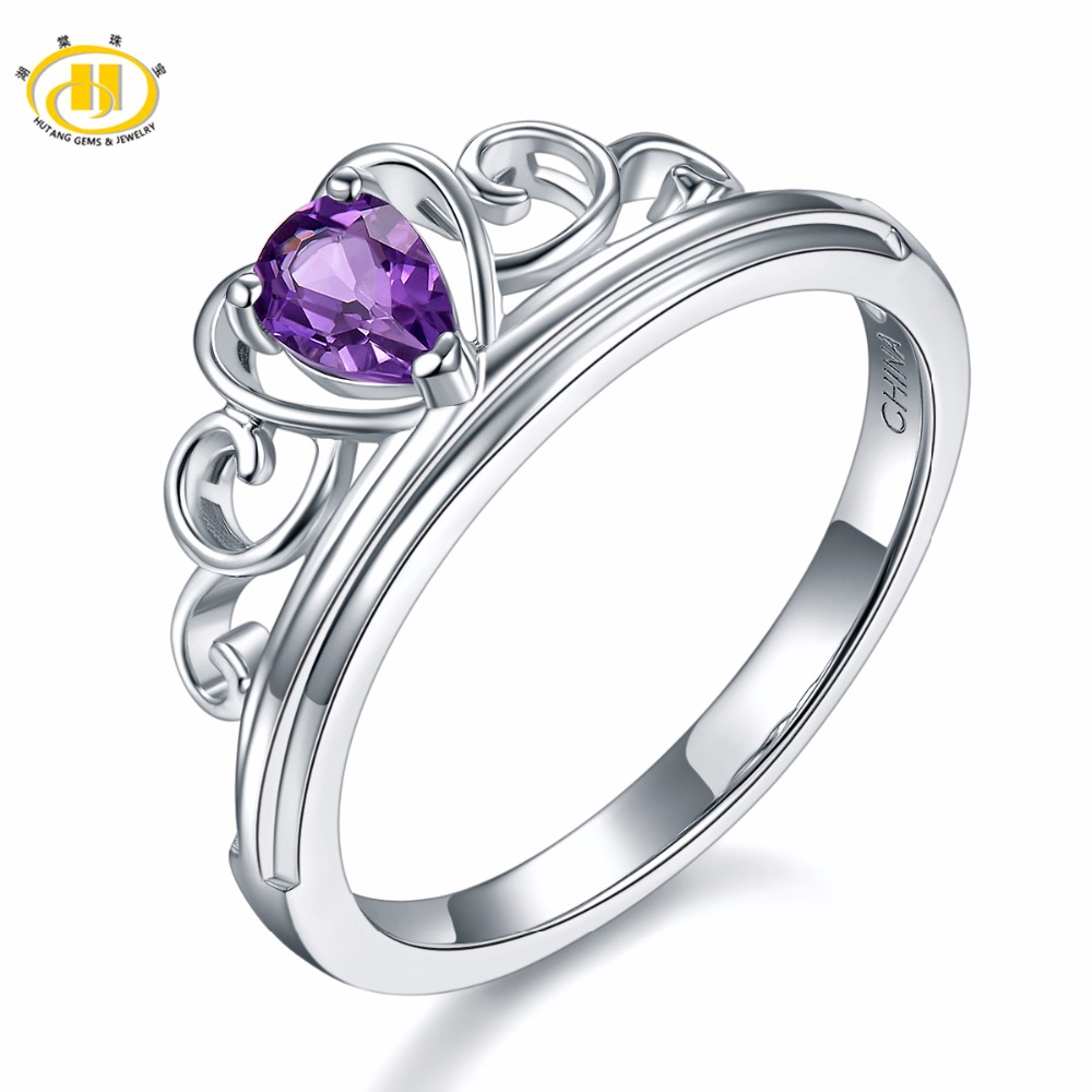 Hutang Engagement Rings Natural Gemstone African Amethyst Solid 925 Sterling Silver Heart Fine Fashion Jewelry For Women GiftHutang Engagement Rings Natural Gemstone African Amethyst Solid 925 Sterling Silver Heart Fine Fashion Jewelry For Women Gift