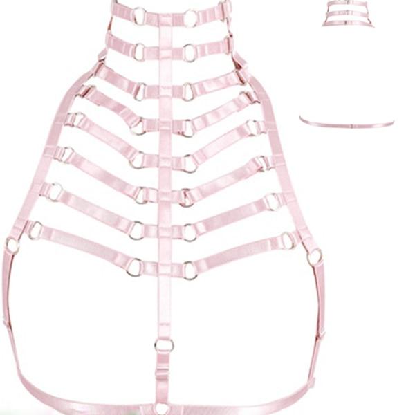 Дизайн розовый воротник бантик Жгут Бюстгальтер Kawaii Открытая грудь Связывание клетка для тела пастельный Готический пояс для тела - Цвет: O0440