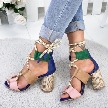 Women Sandals Lace Up Summer Shoes Woman Heels Sandals Pointed Fish Mouth Gladiator Sandals Woman Pumps Hemp Rope High Heels 3
