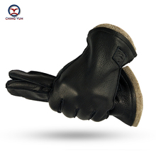 قفازات شينج يون الجديدة الأفضل مبيعًا في الشتاء للرجال مصنوعة من جلد الأيل قفازات دافئة ناعمة خارجية للخياطة 70% بطانة صوف قفاز مقاس كبير