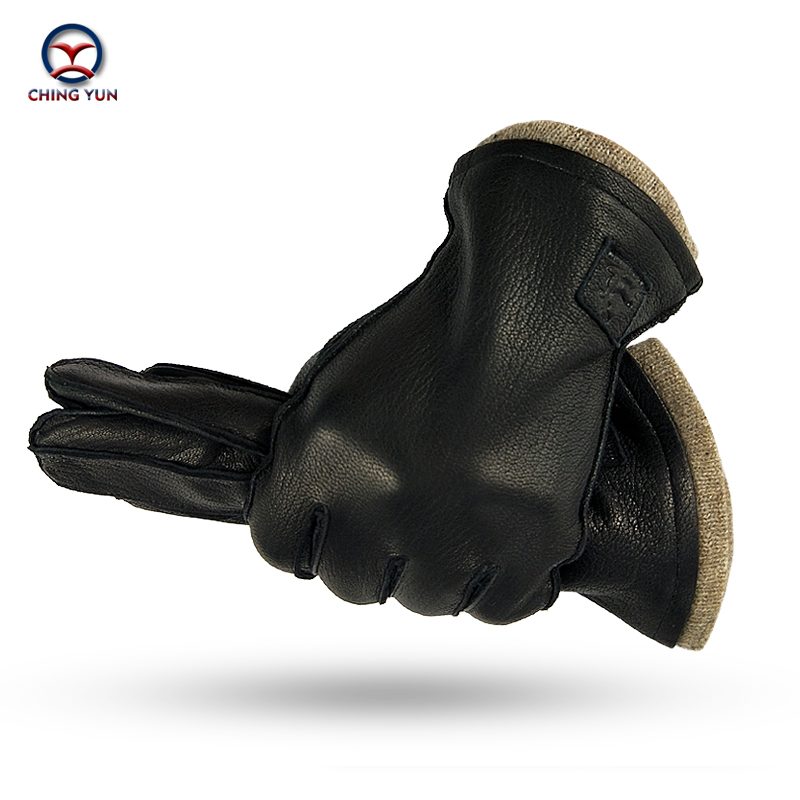CHING YUN New Best Selle Winter Man Deer Skin Leather Gloves Warm Soft External Suture Gloves 70% Wool Lining Large Size Glove