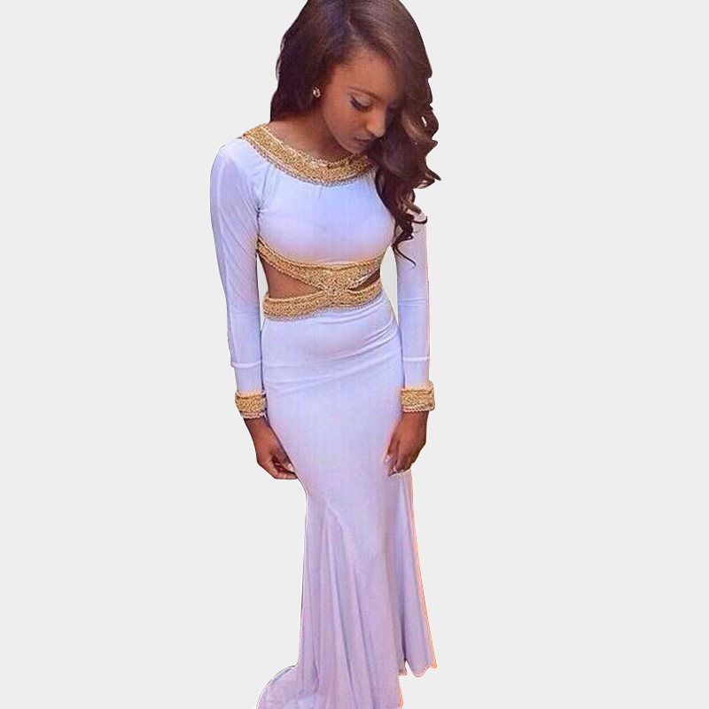 Online Get Cheap White and Gold Prom Dresses Long Sleeve ...