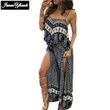 JIMMYHANK  Women Summer Beach Sexy Fashion Casual Sleeveless Spaghetti Strap Split Ruffles Printed Maxi Dress