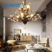 American Country Wrought Iron Crystal branch Retro Villa Bedroom Living Room Porch flow tree Pendent Lamp