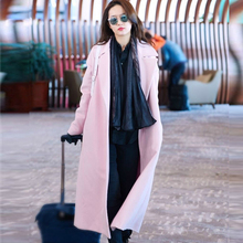 Europe Style Women Long Wool Coat Pink Oversize Trench Peacoats Winter Fashion Cashmere Camel Thick Long Women Wool Coats G197(China)