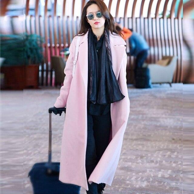Europe style femmes long laine manteau rose oversize tranchée cabans  d hiver de mode cachemire 5998a6551513