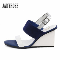 Jady Rose Mixed Color Women Wedges 2017 Summer Gladiator Sandals High Heels Valentine Shoes Woman Female