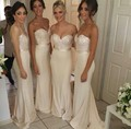 vestido de madrinha 2015 Sequins Sparkly Sweetheart Bridesmaid Dresses Light Champagne Mermaid Formal Prom Gown GL