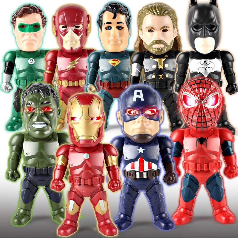 Justice League Superman Flash Batman Lantern Spiderman Raytheon Hulk Iron Man Movable LED Action Figure font