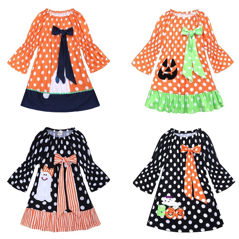 Halloween Costumes Baby Girl Clothes Children Pumpkin Dress Dot Ghost Girl's Dresses Blouses 100% Cotton Outfit 1 2 3 4 <font><b>5</b></font> 6 Year image