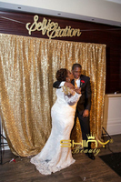 ShinyBeauty Sequin Backdrop PhotoBooth Curtain Gold Sequin Fabric Red Wedding Curtain 9x9ft